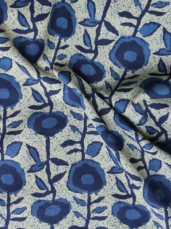 Indigo Ivory Hand Block Printed Cotton Fabric Per Meter - F001F1007