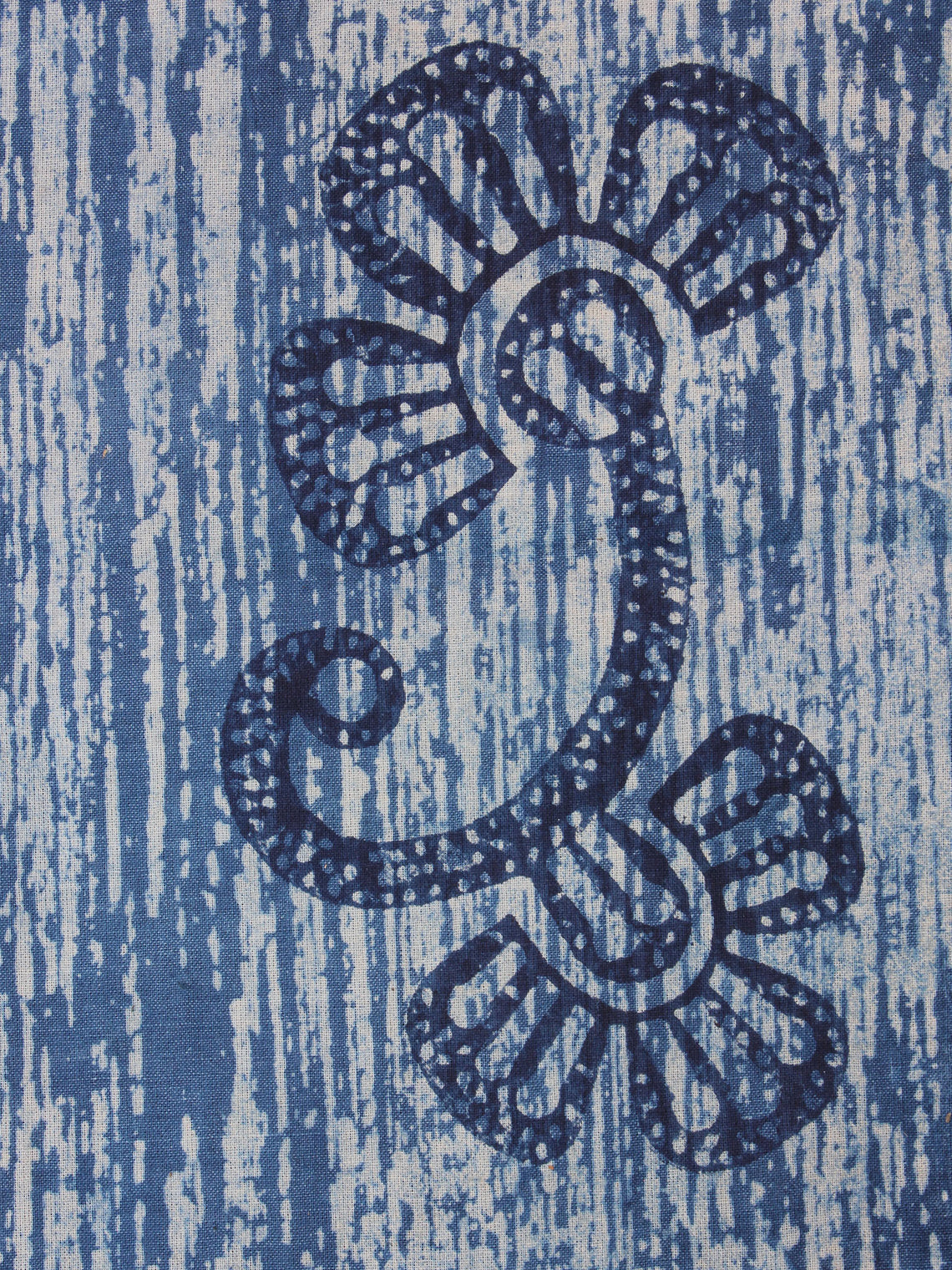 Indigo Blue Natural Dyed Hand Block Printed Cotton Fabric Per Meter - F0916300