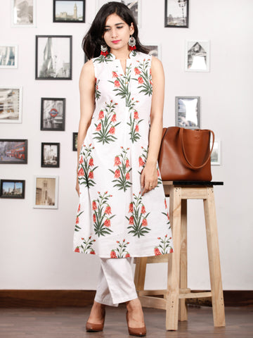 White Peach Green Hand Block Printed Kurta in Natural Colors With stand Collar - K77F1504