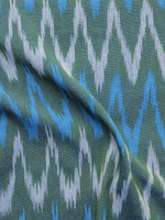 Teal Green Blue Ivory Pochampally Hand Woven Ikat Fabric Per Meter - F002F964