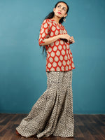 Rust Beige Black Hand Block Printed Cotton Top With Box Pleate - T40F890