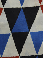 Red Black Blue Ivory Hand Block Printed Cotton Fabric Per Meter - F001F1010