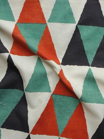 Red Black Green Ivory Hand Block Printed Cotton Fabric Per Meter - F001F1011