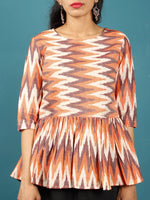 Peach Ivory Brown Hand Woven Ikat Top With Gathers - T38F1227