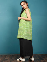Green White Maroon Hand Woven Ikat Cotton Tunic With Pintuck  - Tun07F1230