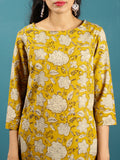 Mustard Beige Black Hand Block Printed Cotton Top - T41F1376