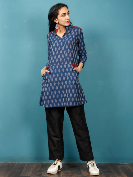 Indigo White Maroon Hand Woven Ikat Cotton Tunic Cum Dress - Tun02F940