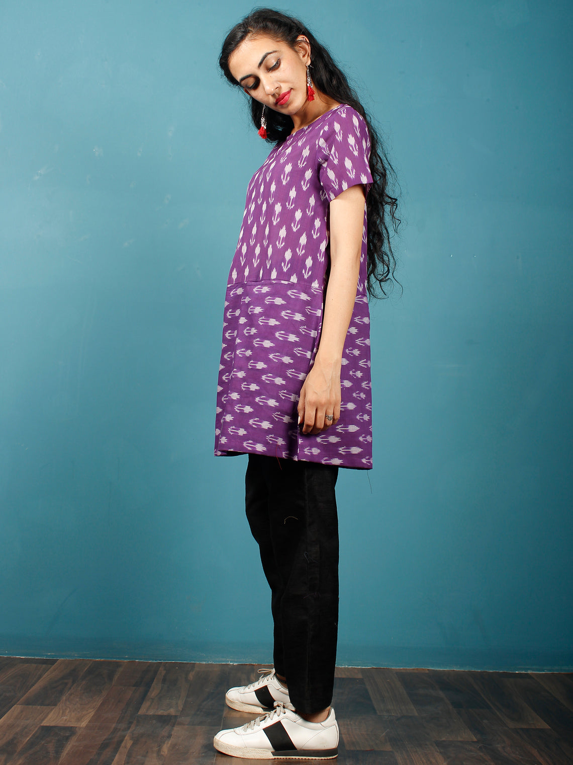 Purple Grey Hand Woven Mercerised Ikat Cotton Tunic  - Tun11F841