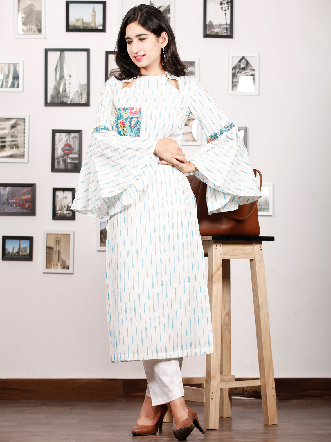 Ivory Sky Blue Hand Woven Ikat Kurta With Bell Sleeves - K78F1469