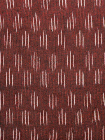 Brown Ivory Pochampally Hand Woven Ikat Fabric Per Meter - F002F965