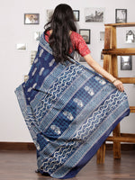 Indigo Blue White Hand Block Printed Cotton Mul Saree - S031703005