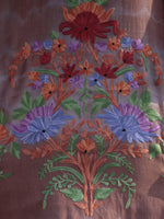 Brown Lavender Green Red Orange Aari Embroidered Short Kashmere Kaftan  - K11K046