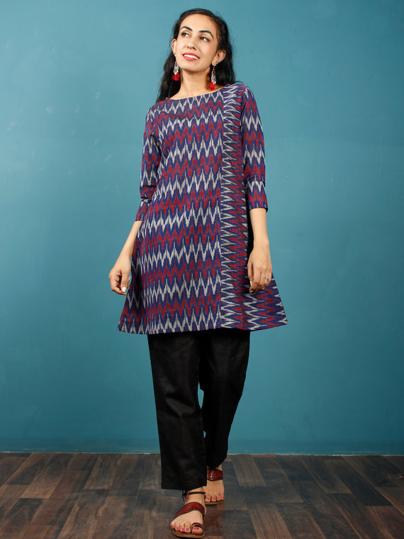 Blue Maroon Grey Hand Woven Mercerised Ikat Cotton Tunic  - Tun10F842