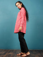 Red White Black  Hand Woven Ikat Cotton Check Tunic Cum Dress  - Tun05F1264