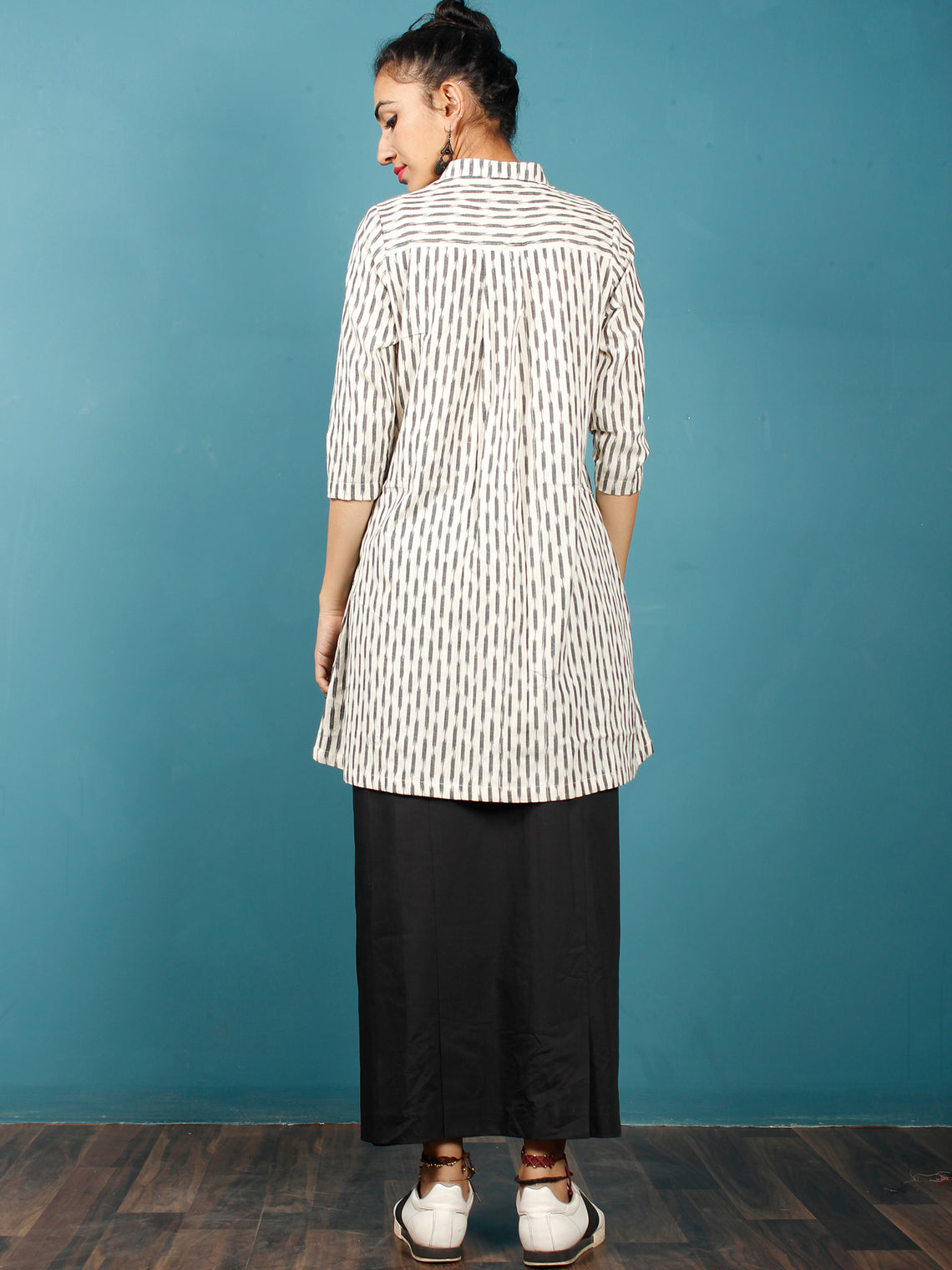 Off White Grey Hand Woven Ikat Cotton Tunic With Stand Collar  - Tun08F751