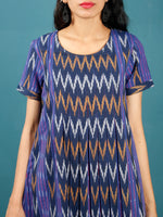 Purple Indigo White Mustard Hand Woven Ikat Cotton Tunic With Box Pleates - Tun03F1231