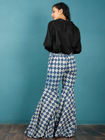 Indigo White Hand Block Printed Semi Elasticated Waist Cotton Sharara  - Sh12F23
