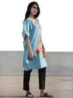 Blue Red Orange Green Aari Embroidered Short Kashmere Kaftan  - K11K047