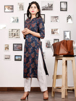 Indigo Rust Green Beige Hand Block Printed Kurta in Natural Colors With Pintuck - K79F1341