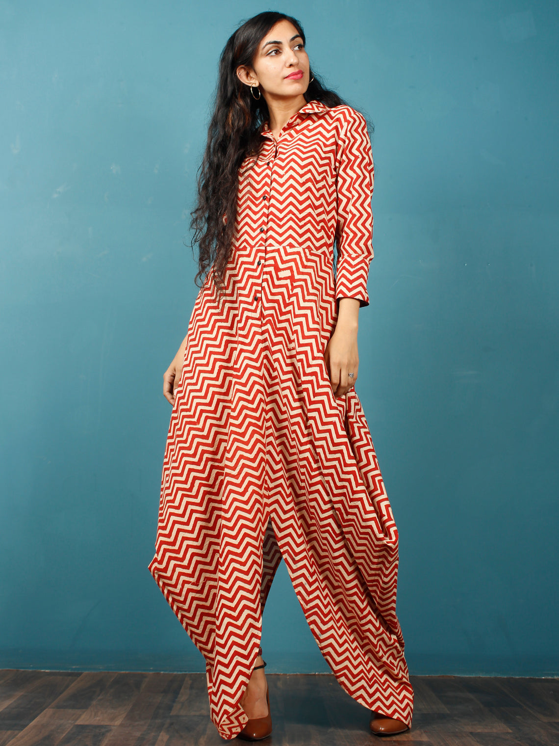 Red Beige Hand Block Printed Cotton Cowl Dress With Shirt Collar And Side Pockets - D269F1359