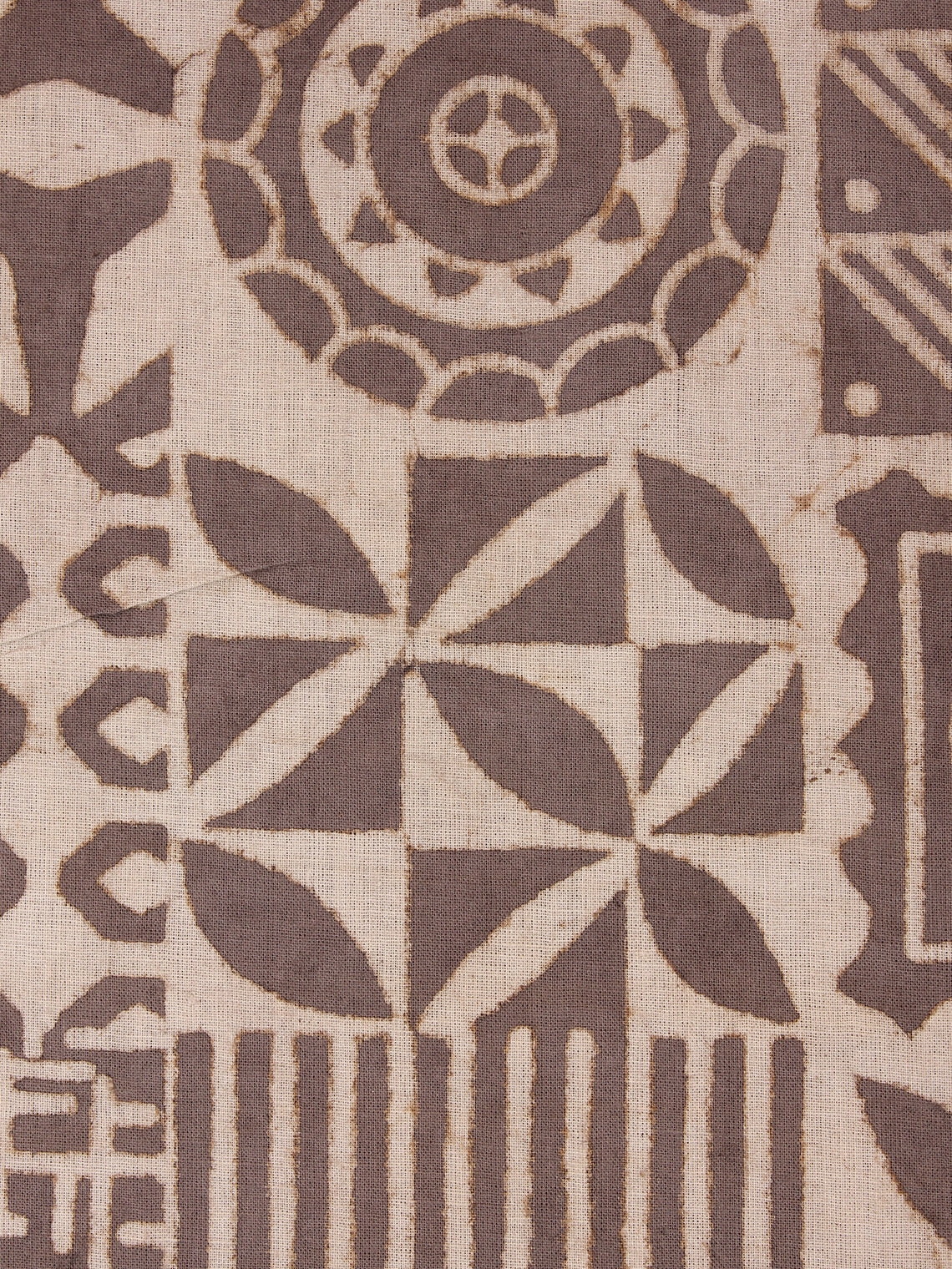 Brown Beige Natural Dyed Hand Block Printed Cotton Fabric Per Meter - F0916048