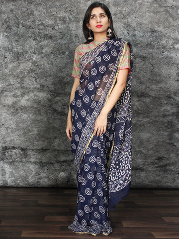 Indigo White Hand Block Printed Chiffon Saree with Zari Border - S031703121