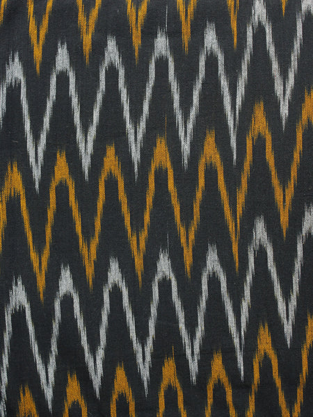 Black Orange Ivory Pochampally Hand Woven Ikat Fabric Per Meter - F002F967