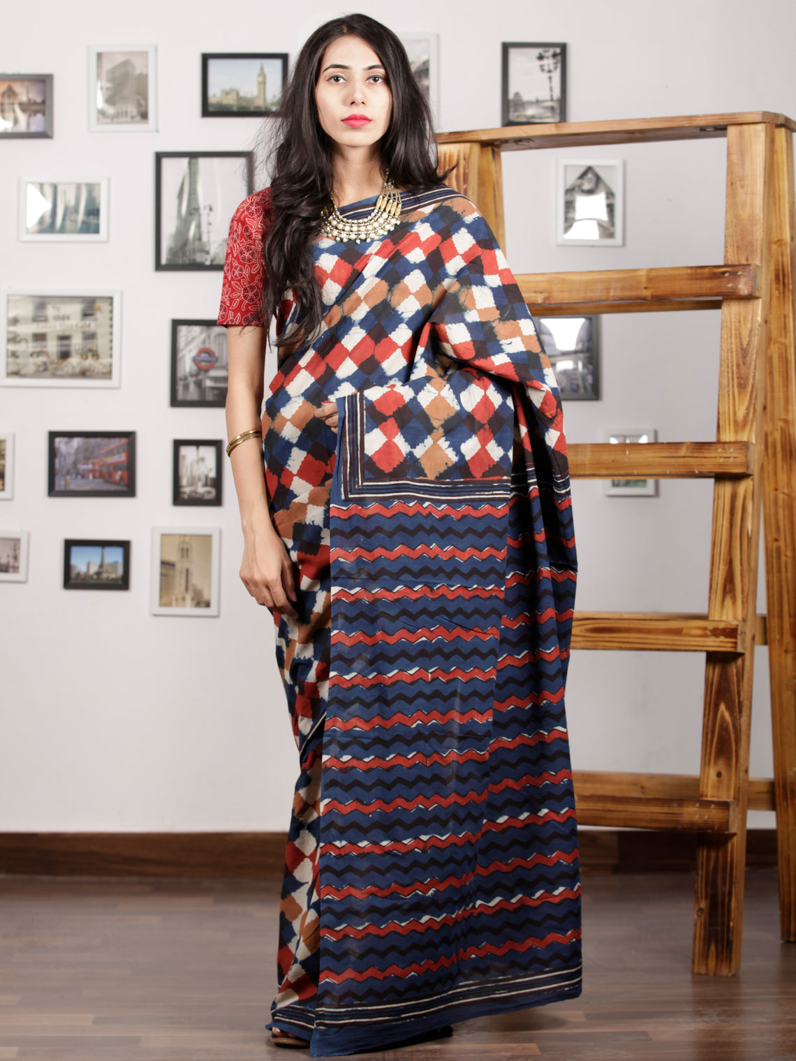 Indigo Brown Red White Hand Block Printed Cotton Mul Saree - S031703007