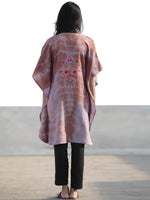 Brown Blue Rust Lavender Green  Orange Aari Embroidered Short Kashmere Kaftan  - K11K048