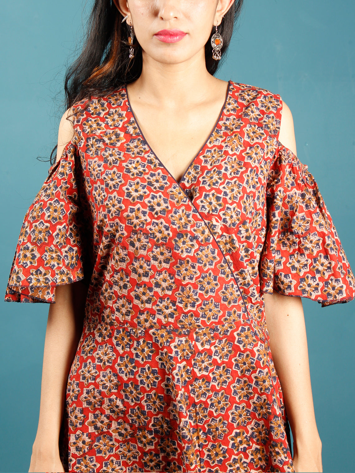Red Mustard Indigo Hand Block Printed Cotton Dress With Cold Shoulders  - D241F1398
