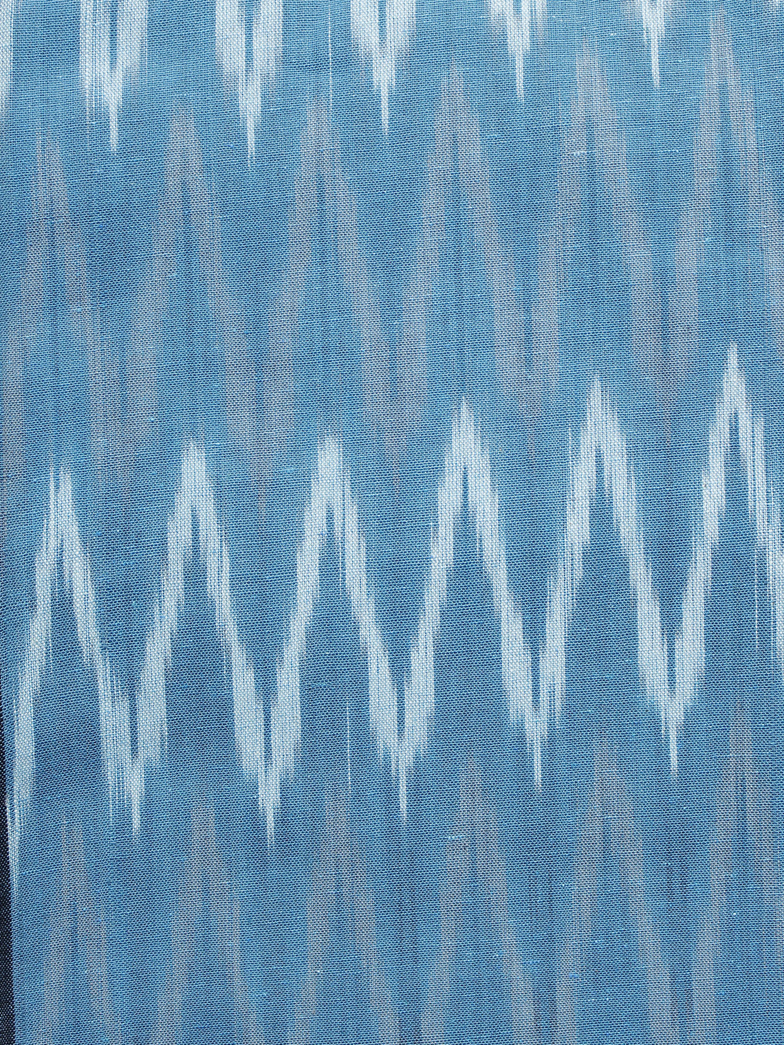 Sky Blue Ivory Pochampally Hand Woven Ikat Fabric Per Meter - F002F968