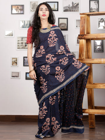 Indigo Red White Hand Block Printed Cotton Mul Saree - S031703008