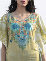 Chartreuse Green Blue Orange Aari Embroidered Short Kashmere Kaftan  - K11K049