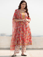 Zohra Shirat - Set of Anarkali Kurta Pants & Dupatta - KS64A2510D