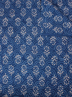 Indigo Beige Natural Dyed Hand Block Printed Cotton Fabric Per Meter - F0916301
