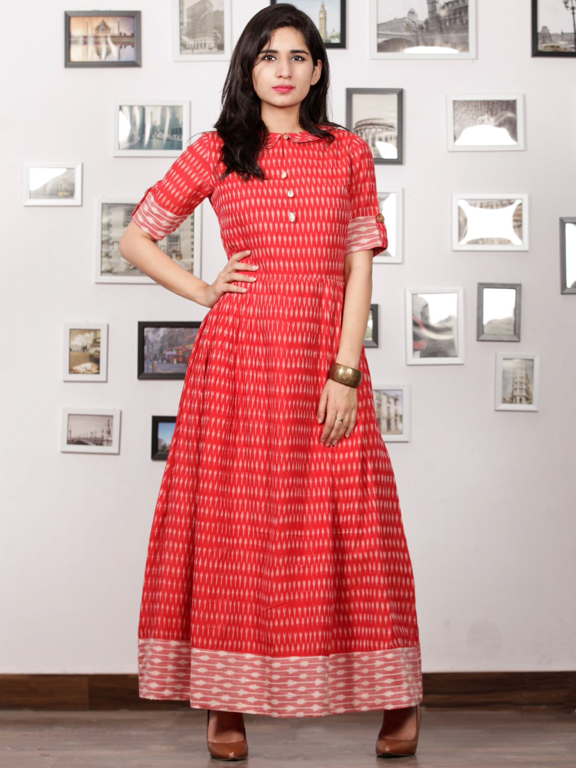 Red Ivory Wine Pink Handloom Mercerised Ikat Long Cotton Dress With Kalamkari Patch Work - D281F1267