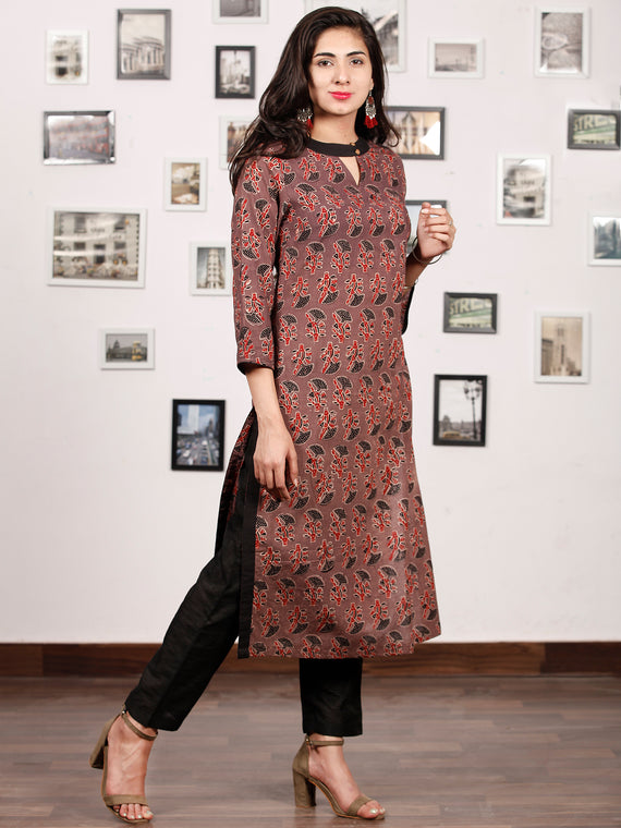 Black Brown Maroon Hand Block Printed Kurta - K134f1660