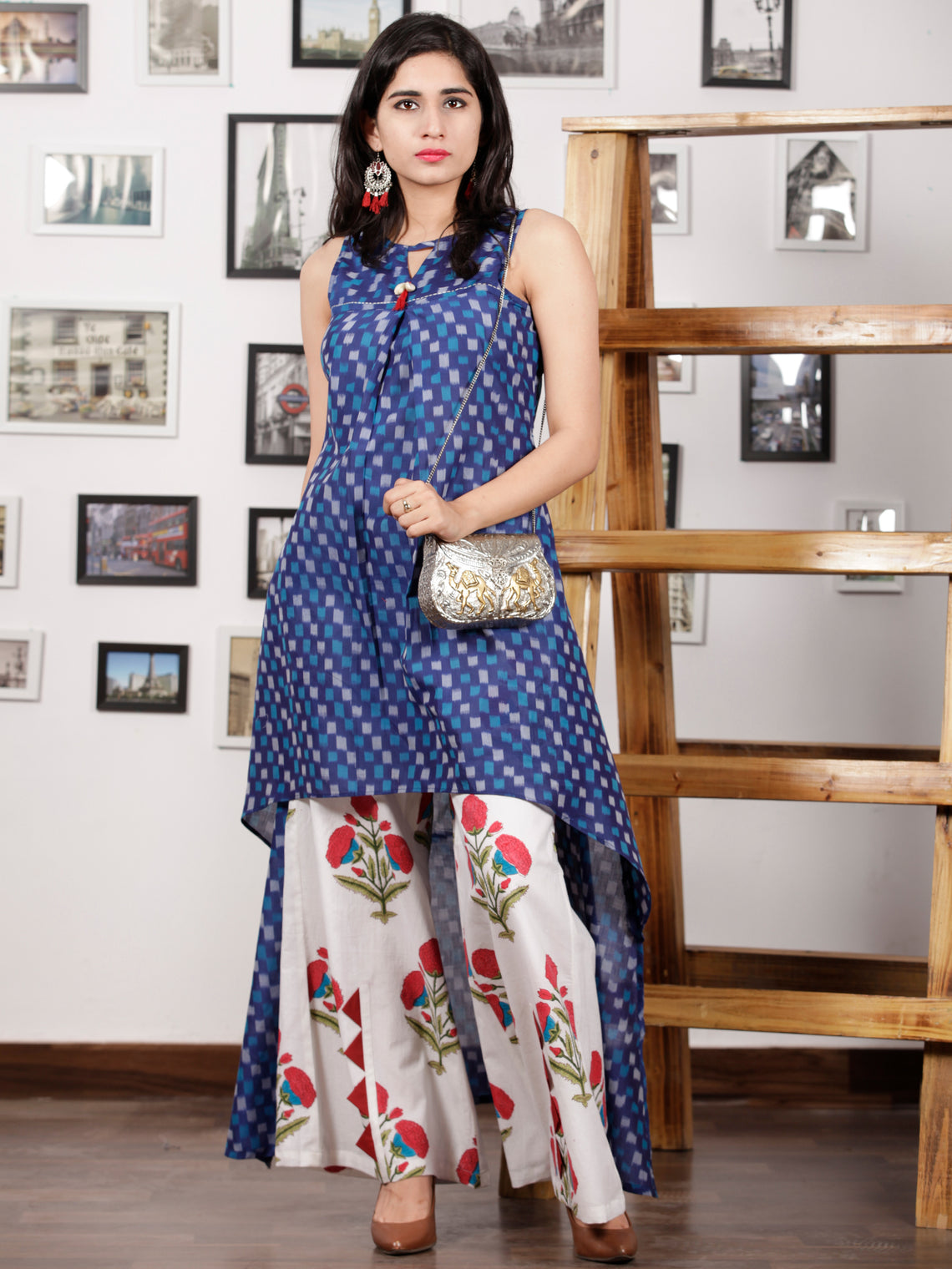 Blue Grey White Punch Pink Handloom Mercerised Ikat Asymmetric Kurta & Pleated Culottes Dress With Embroidered Neck Details (Set of 2) - D286F1417