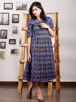 Purple Indigo Orange Ivory Hand Woven Ikat Cotton Dress With Front Box Pleats  - D196F1231