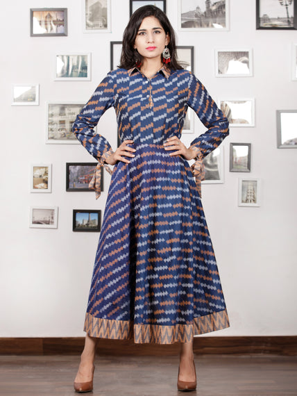 Blue Peach Grey White Handloom Mercerised Ikat Cotton Middi Dress With Collar & Knot Sleeves - D277F1405