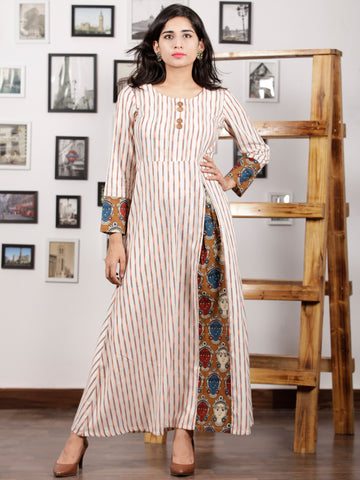 Off White Orange Peanut Brown Maroon Handwoven Ikat Kalamkari Long Dress -  D288F1468
