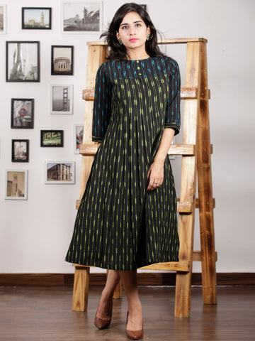 Black Parrot Green Turquoise Handwoven Ikat Middi Dress With Knife Pleates -  D289F1445