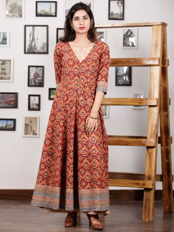Red Indigo Peanut Brown Beige Hand Block Printed Long Cotton Dress With Tunic & Cape (Set of 2) - D291F888