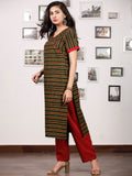 Green Yellow Black Red Ajrakh Hand Block Printed Kurta - K143fBP34