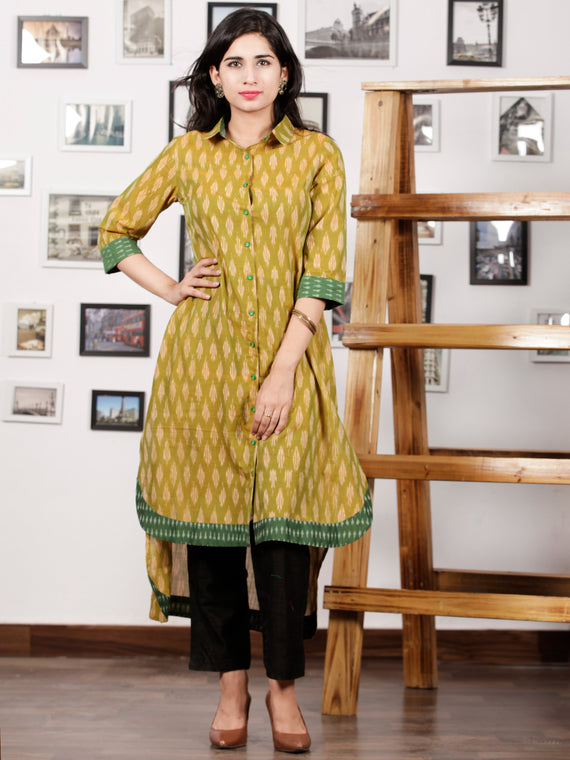 Green Peach Ivory Handloom Mercerised Ikat Asymmetric Long Kurta With Front Open - K93F1275