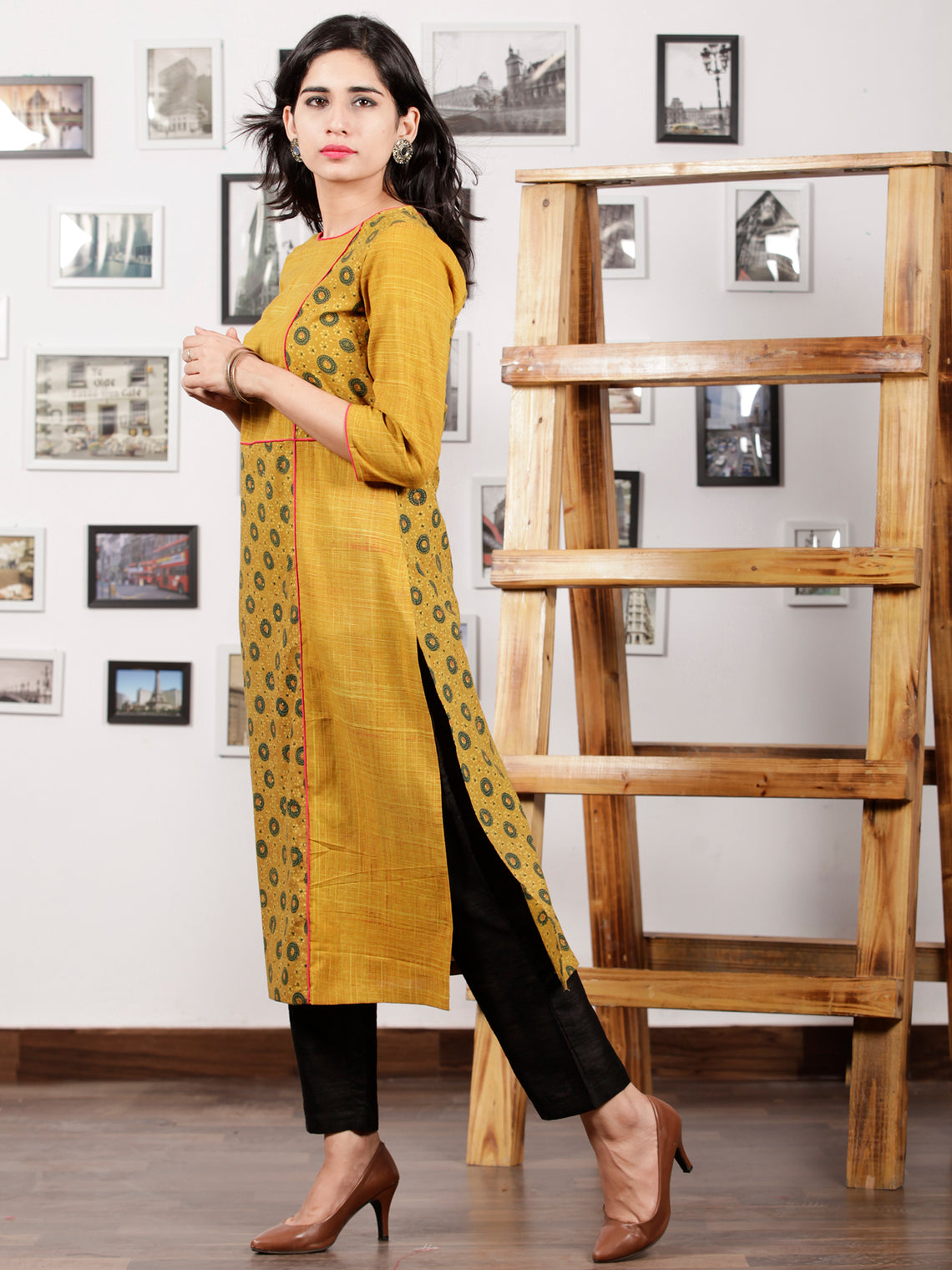 Mustard Green Pink Hand Printed Ajrakh Kurta in Natural Colors - K57F1530