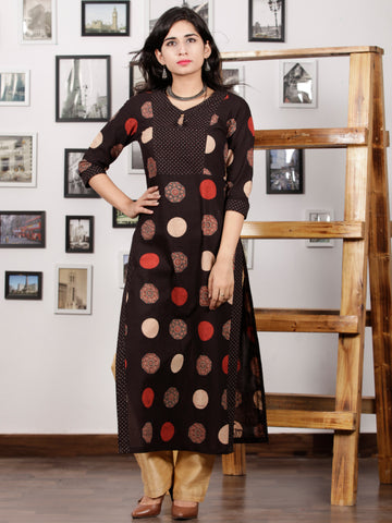 Black Rust Beige Hand Printed Ajrakh Cotton Long Kurta in Natural Colors - K99F1545