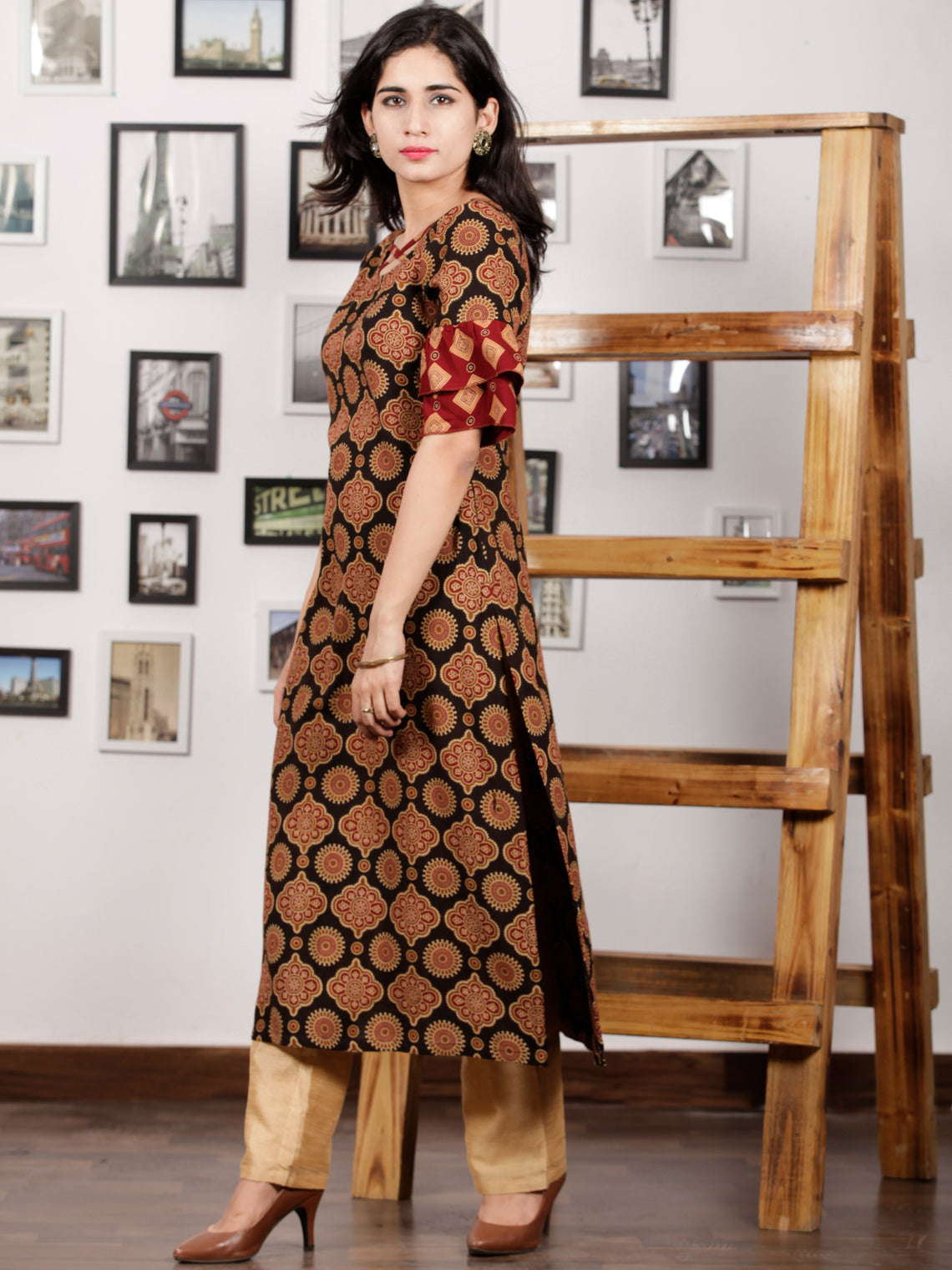 Black Maroon Peanut Brown Hand Printed Ajrakh Rayon Kurta With Bell Sleeves - K101F1551