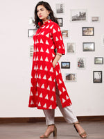 Red White Handloom Double Ikat Kurta With Front Open & Pockets - K147F766