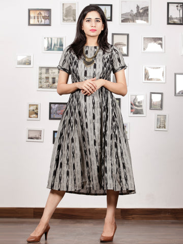 Grey Black Handwoven Ikat Dress With Princess Cut & Knife Pleates-  D278F1256